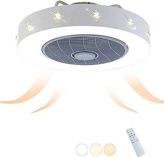 Ventilador de techo con iluminación LED Luz de techo Ventilador redondo Luces de techo creativas Regulable Ventilador de techo Control remoto Interior Sala de niños Sala de estar Ventilador de techo I: