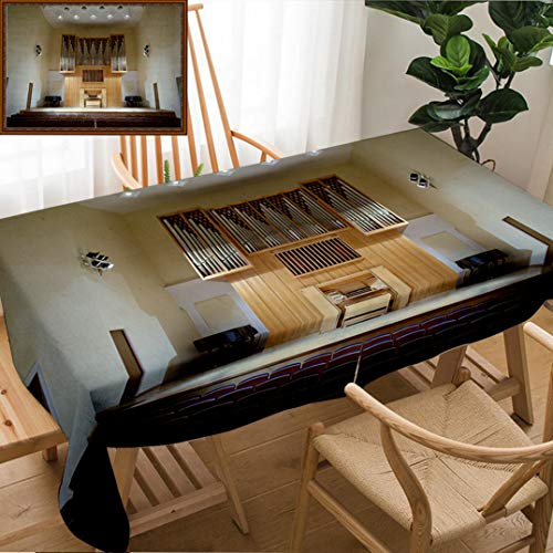 Skocici Unique Custom Design Cotton and Linen Blend Tablecloth Massive Wooden Pipe Organ in Empty Concert Hall Rows of SeatsTablecovers for Rectangle Tables, 78