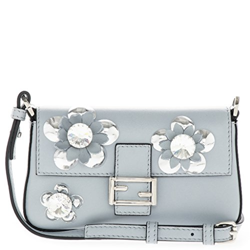 Blue Handbag Fendi (Fendi Women's Baguette Crystal Flowerland Satchel Dusty Sky Blue)