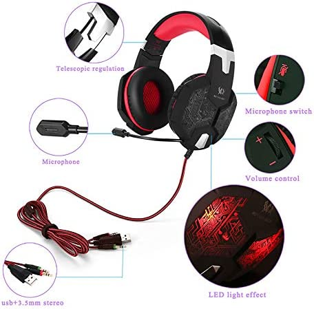 G1000 headset PS4 headset with microphone notebook 3.5 wired headphones G1200 Black and Blue Line G1200 Black and Red Line