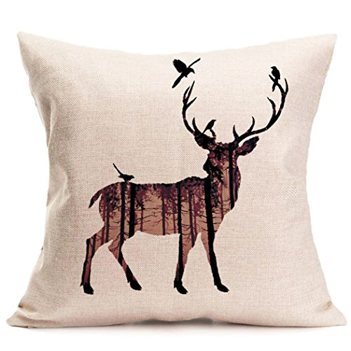 Decorative Pillows Deer : Cukudy Decors Square Decorative Throw Pillow Case Cushion Cover Rustic Deer Buck Burlap Throw ...
