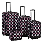 Rockland Luggage 4 Piece Printed Luggage Set, Mulpink Dots, Medium