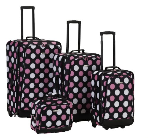 rockland-luggage-4-piece-printed-luggage-set-mulpink-dots-medium