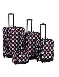 Rockland F106 Printed Luggage Set, Mulpink Dots, Medium, 4-Piece
