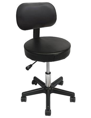 Nice Wahson Adjustable Rolling Massage Stool With Back, 15 Inch Seat 5 Locking  Wheels