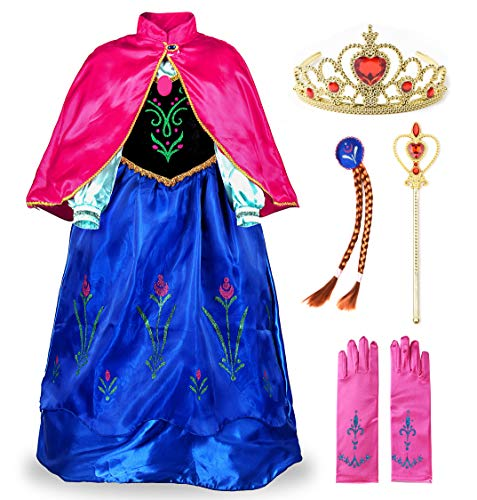 JerrisApparel Snow Party Dress Queen Costume Princess Cosplay Dress Up (7-8, Anna with Accessories 2) ()