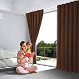 SHIELD CREATOR Blackout Curtains, Back Tab and Rod Pocket Solid Blackout Curtains, Thermal Insulated Window Drapes for Living Room, 2 Panels(W52 X L84, Brown)