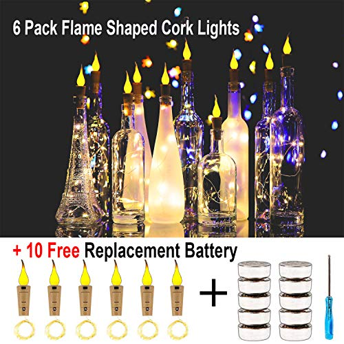 KZOBYD Flame Cork Shaped Lights 6 Pack Firefly Craft Bottle Lights Battery Operated Candle Lights for Wine Bottles,Party,Wedding,Halloween,Christmas,DIY,Centerpieces,Decoration (Warmwhite)