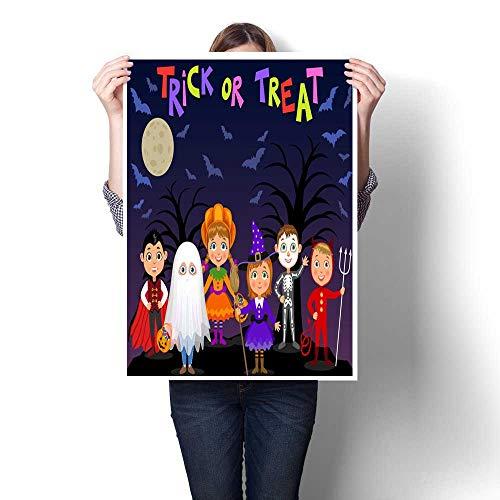 Wall Art Oil PaintingS Happy Halloween Children in