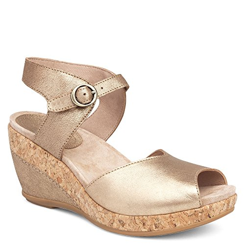 (Dansko Women's Charlotte Sandal Gold Crinkle Size 37 EU (6.5-7 M US Women))