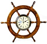 Premium Nautical Hand Crafted Brass Time's Clock Wooden Ship Wheel | Pirate's Wall Decor | Home Decorative Gifts | Nagina International (30 Inches)