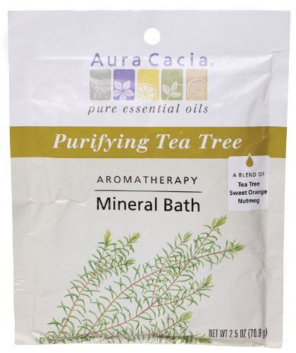 (Aura Cacia Aromatherapy Mineral Bath, Purifying Tea Tree, 2.5 ounce packet (Pack of 3))