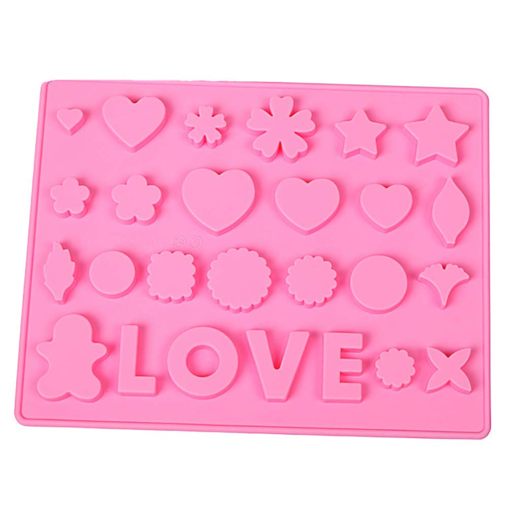 Silicone Christmas Chocolate Molds Heart Flower LOVE Letters Silicone Ice Mold Tray Fondant Cake Decor