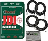 Radial JDI Stereo Passive DI, stereo for acoustic guitar, bass and keyboards w/ Polish Cloth and 4 Cables