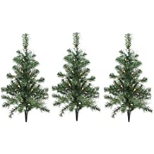 Sienna Lighted Christmas Tree Driveway Or Pathway Markers Outdoor Christmas Decorations, 3 Pack