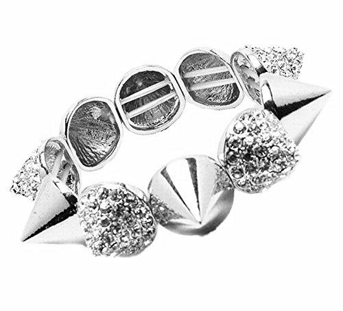 (Qiji Punk Style Alloy Spike Bracelet Hip Hop Stretch Rhinestone Costume Jewelry (Silver))
