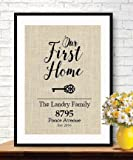 Elegant Gifts for House Warming | New Home Housewarming Gift | Our First Home Burlap Print | Personalized Address Sign | New House Gift | New Homeowner # 009