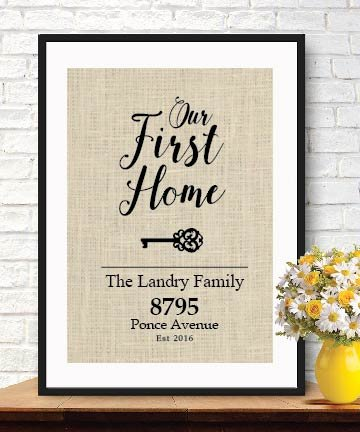 Boston Creative Company Elegant Gifts For House Warming New Home Housewarming Gift Our First Home Burlap Print Personalized Address Sign New