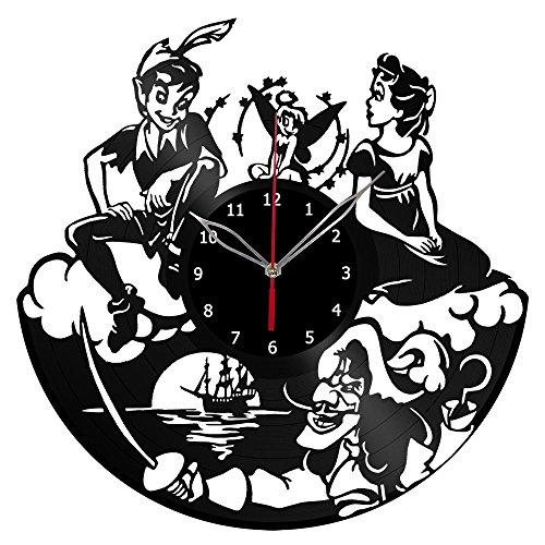 Peter Pan Clock Record Wall Clock Fan Art Handmade Decor Unique Decorative Vinyl Clock12″ (30 cm) #1 Review