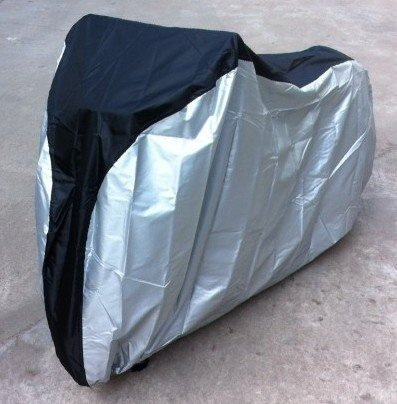 BlueMart  Silver & Black 190T nylon waterproof bike / bicycle cover (size: XL) by BlueMart