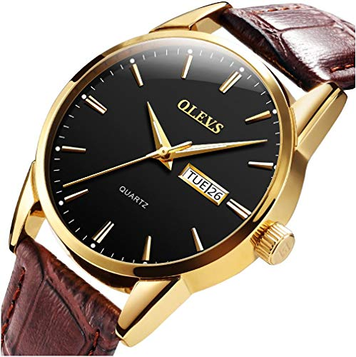 (OLEVS Men's Alloy Quartz Watches Analog Week Date Business Casual Wristwatch Waterproof 30M Blue/White/Black/Gold Dial Brown Genuine Leather 3ATM Simple Classic YPF)