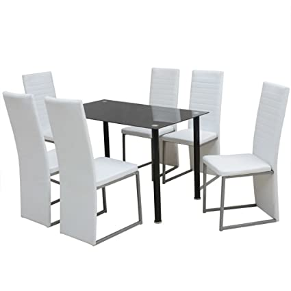 VidaXL 7 Piece Artificial Leather Glass White Dining Set Table 6 Chairs  Kitchen