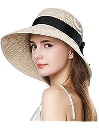 e79f83fbb1b717 Packable UPF Straw Sunhat Women Summer Beach Wide Brim Fedora Travel Hat  54-59CM
