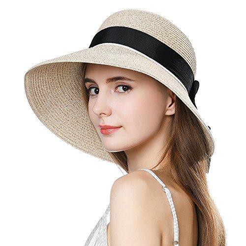 (Siggi Womens Floppy Summer Sun Beach Straw Hats Accessories Wide Brim SPF 50 Crushable 56-58cm Beige)