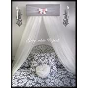 Gray white pink Bed Crib Canopy FREE white curtains custom made SALE So Zoey Boutique designs