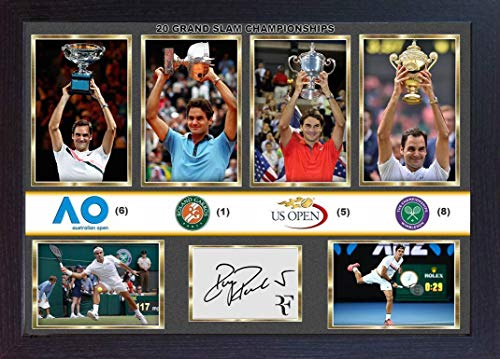 Grand Slam Framed Photo - S&E DESING Roger Federer Signed Photo Print Picture 20 Grand SLAM Championships Framed -MDF