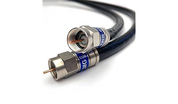 175 M Quad Shield sólido cobre 3 GHz RG-6 cable coaxial 75 Ohm (DirecTV Televisión Vía Satélite o Internet de banda ancha) anti corrosión latón conector RG6 ...