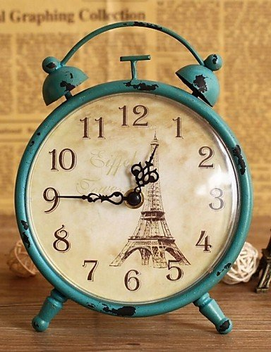 Retro Vintage Metal Paris Eiffel Tower Clock Home Decor Table Clock Ornament