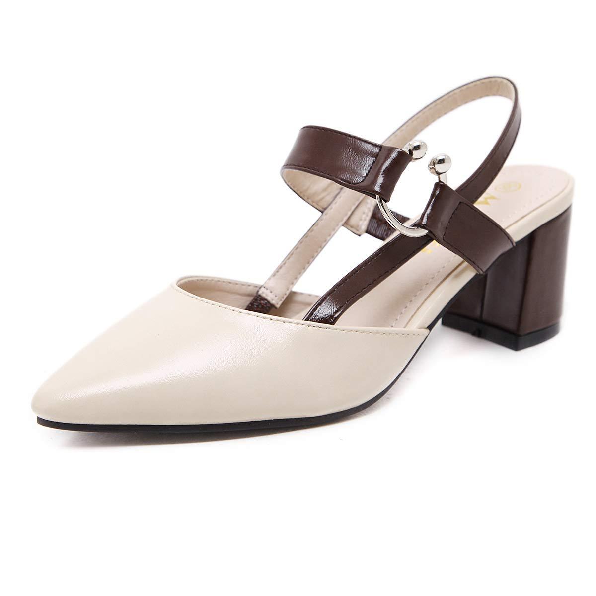 HRCxue Pumps Damenschuhe mit hohen Absätzen, Rückensandalen, Schnalle, dick dick dick mit Spitzen Schuhen, Damenschuhen, 35, Aprikose 94338b