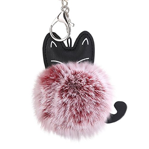 Price comparison product image Naladoo Valentine's Day Gift 8CM Cute Cat Keychain Pendant Women Key Ring Holder Pompoms Key Chains (Wine Red)