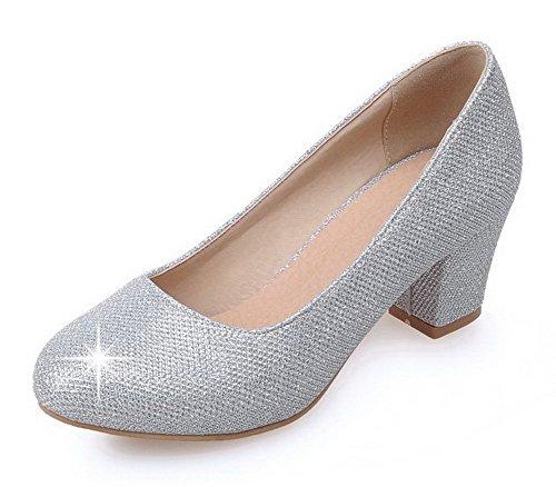 AllhqFashion Damen Weiches Material Ziehen auf Rund Zehe Mittler Absatz Rein Pumps Schuhe Silber