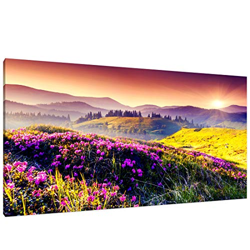 (Canvas Wall Art Purple Mountain Landscape Picture Prints Modern One Panel Painting Framed Stunning Scenery Artwork Ready to Hang for Living Room Bedroom Dinning Room Home Office Decor)