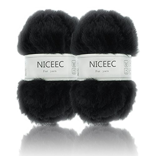 Super Soft Fur Yarn Smooth Fluffy Faux Fur Eyelash yarn For Crochet Knit By NICEEC With 2 Skeins-Total Length 2×32m(2×35yds,50g×2)-Black by NICEEC