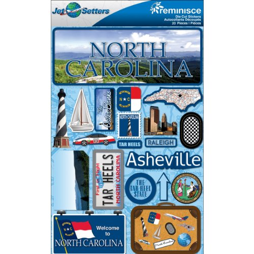 (Reminisce Jet Setters Dimensional Stickers-North Carolina)