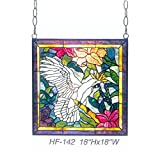 HF-142 Rural Vintage Tiffany Style Stained Church Art Glass Decorative Cranes Floral Square Window Hanging Glass Panel Suncatcher, 18''H18''W