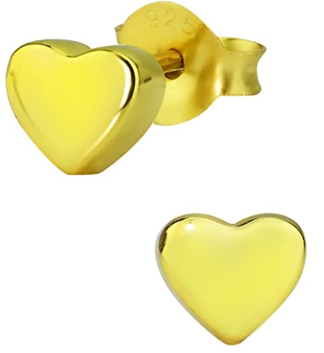 c4cdeeddc Amazon.com: Hypoallergenic 14k Gold Plated Sterling Silver Little Heart Stud  Earrings for Kids (Nickel Free): Jewelry
