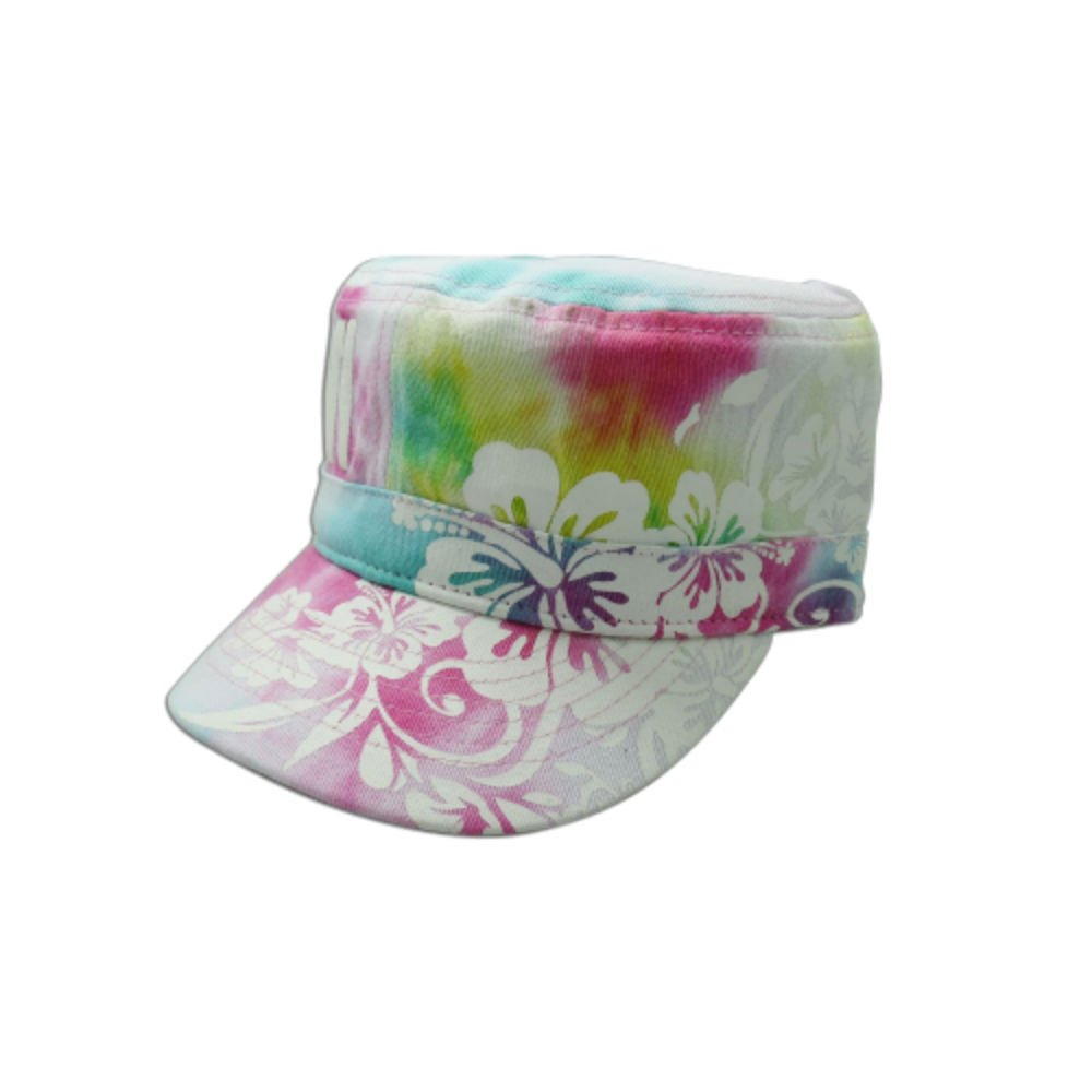 Hawaiian Aloha Tie Dye White Island Military Cap