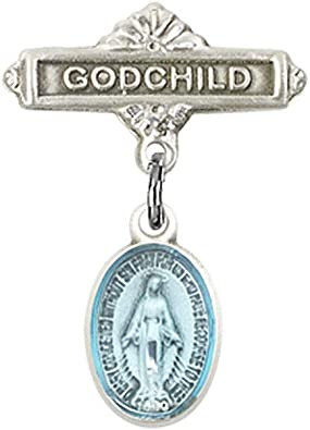 DiamondJewelryNY Baby Badge with Miraculous Charm and Polished Badge Pin