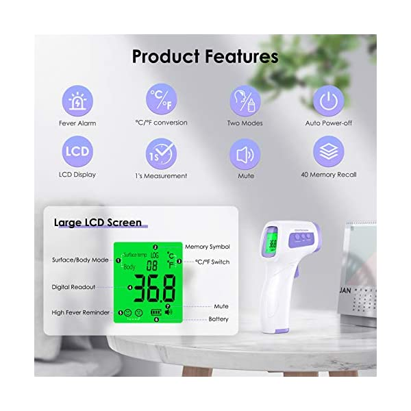 Thermometre Frontal Infrarouge JOYSKY Thermomètre sans Contact Thermometre Frontal Pour Bébés, Enfants, Adultes et…