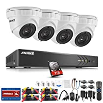 ANNKE 4CH Full HD H.264+ 1080P/2MP/3MP Surveillance DVR System with 2TB Hard Disk and (4) 3MP 1920x1536 Weatherproof Outdoor Security Cameras, Motion Detection and Remote Playback