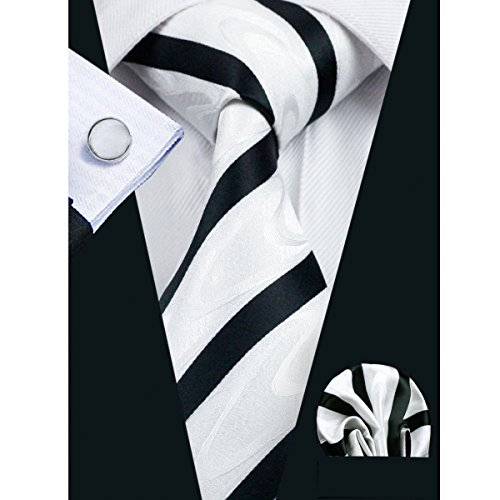 Classic Square Cufflinks (Hi-Tie Men's Classic White Black Striped Tie)