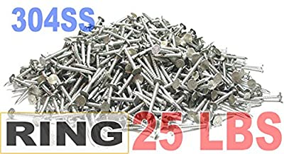 """1 1/2"""" x 10-Gauge 4D Ring 304 Stainless Roofing Nails 25lb by FastenerUSA"""