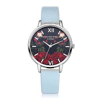 Scpink Mujeres Relojes de Cuarzo, patrón de Flores de liquidación Relojes de señoras analógicas Relojes Femeninos Relojes de Cuero (Azul): Amazon.es: ...