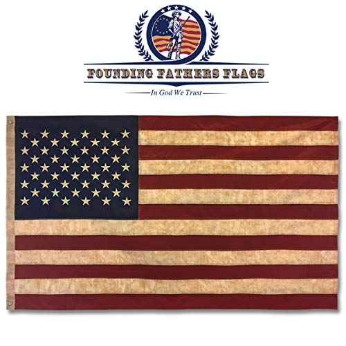 Founding Fathers Flags Embroidered Vintage American Flag- Premium Quality Oxford Poly - 3'x5' Vintage Heritage Edition ()