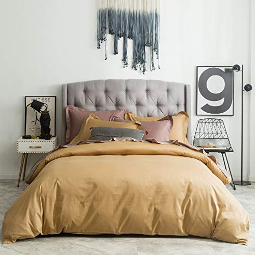 SUSYBAO 2 Pieces Duvet Cover Set 100% Natural Cotton Twin/Single Size Solid Gold Bedding Set with Zipper Ties 1 Duvet Cover 1 Pillow Sham Luxury Quality Ultra Soft Breathable Lightweight Durable (Gold Bedding Luxury)