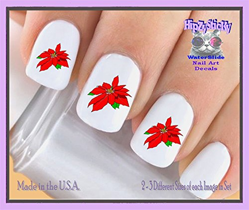 Holiday Christmas - Christmas 806X Red Pointsettia Single Image Nail Decals - WaterSlide Nail Art Decals - Highest Quality! Made in USA Red Nail Art For Christmas
